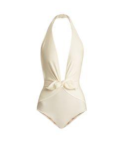 Adriana Degreas   Halterneck Deep V-Neck Swimsuit