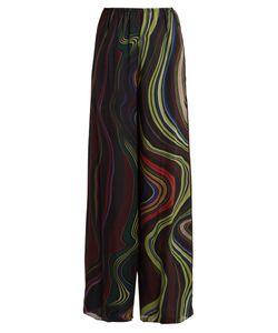 By. Bonnie Young | Asylum-Print Wide-Leg Silk-Chiffon Trousers