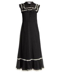 Red Valentino   Polka-Dot Print Ruffled Crepe De Chine Dress
