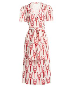 Miu Miu | Tulip-Print Crepe Midi-Dress