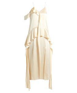 Jonathan Simkhai   Ruffle-Trimmed Silk-Satin Dress