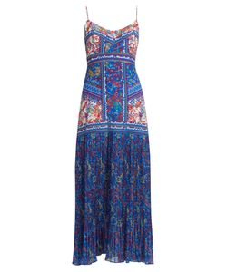 Saloni | Veronica Sleeveless Begonia-Print Silk Dress