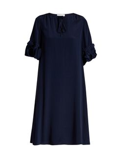 See By Chloe | Ruffled-Sleeve Tie-Neck Silk Dress