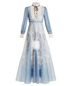 Temperley London | Imperium Lace-Embellished Silk Dress