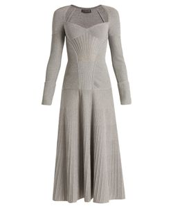 Alexander McQueen | Sweetheart-Neck Long-Sleeved Wool-Blend Dress