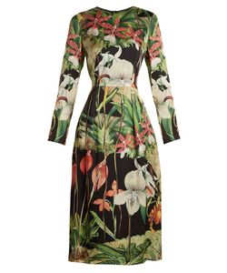 Adam Lippes | Orchid-Print Long-Sleeved Silk-Satin Dress