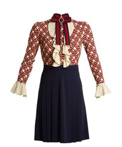 Gucci | Vintage Circle-Print Stretch-Cady Dress