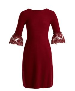 Oscar de la Renta | Scoop-Back Fluted-Cuff Wool Dress