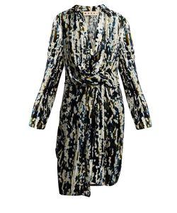 Marni | Draped-Waist Velvet-Devoré Dress