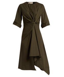 Marni | Knotted Asymmetric Cotton-Poplin Dress