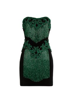 Balmain | Bead-Embellished Strapless Velvet Dress