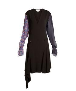 ESTEBAN CORTAZAR | Contrast-Sleeve V-Neck Stretch-Crepe Dress