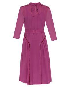 Bottega Veneta | Ric-Rac Trimmed Silk Midi Dress