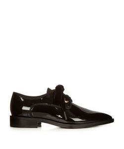 Lanvin | Patent-Leather And Velvet Lace-Up Shoes