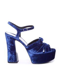 Saint Laurent | Candy Bow-Detail Velvet Platform Sandals