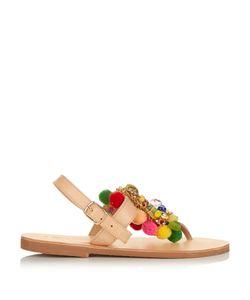 ELINA LINARDAKI | Jellytots Embellished Leather Flat Sandals