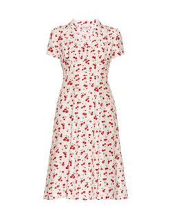 HVN | Morgan Cherry-Print Short-Sleeved Dress
