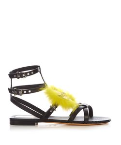 Fendi | Bag Bugs Fox-Fur Embellished Leather Sandals