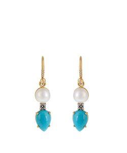 IRENE NEUWIRTH   Diamond Pearl Turquoise Yellow-Gold Earrings