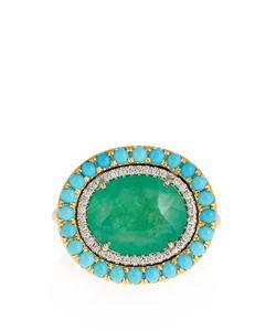 IRENE NEUWIRTH   Diamond Emerald Turquoise Yellow-Gold Ring