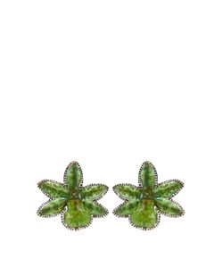 SILVIA FURMANOVICH | Diamond Resin-Coated Orchid Gold Earrings
