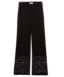 SERENA BUTE | Straight-Leg Mid-Rise Lace Trousers
