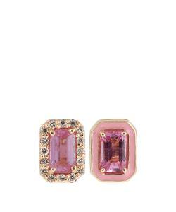 ALISON LOU | Diamond Sapphire Enamel Yellow-Gold Earrings
