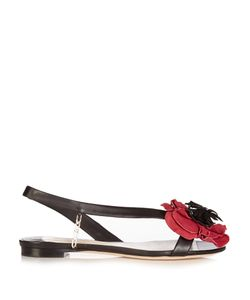 OLGANA PARIS | Poppy Floral-Detail Leather Sandals