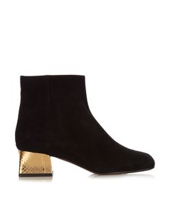 Marni | Suede And Gold Block-Heel Ankle Boots