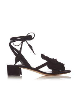 OLGANA PARIS | Dahlia Floral-Detail Suede Block-Heel Sandals