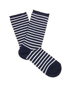 Falke | Marine Striped Cotton-Blend Socks