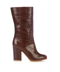 Alexa Wagner | Heidi Crocodile-Effect Leather Boots