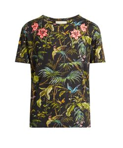 Gucci | Jungle-Print And Appliqué Linen T-Shirt