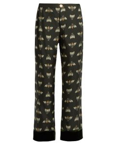 F.R.S | Era Insect-Print Silk Wide-Leg Trousers
