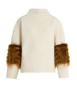 Saks Potts | Vein Fox-Fur Panel Wool Sweater
