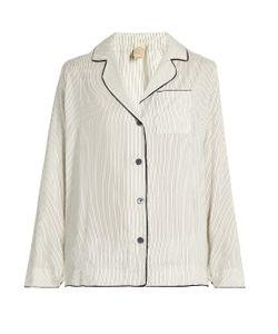 MORPHO + LUNA   Cara Pinstriped Silk-Satin Pyjama Shirt