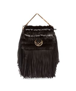 Fendi | Micro Baguette Mink-Fur And Leather Cross-Body Bag