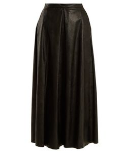 MM6 by Maison Margiela   Pleated Faux-Leather Skirt