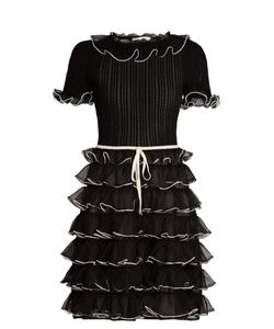 Gucci | Pointelle-Knit Short-Sleeved Ruffled Silk Dress