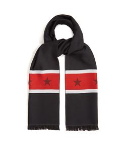 Givenchy   Striped And Star Wool Scarf