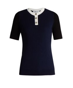 Courreges | Contrast-Neckline Ribbed-Knit Top