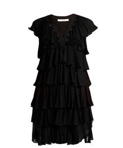 Givenchy | Ruffle-Trimmed Eyelet-Embellished Crepe Dress