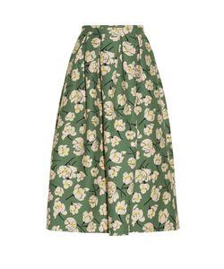 Rochas | Magnolia-Print Duchess-Satin Midi Skirt