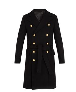 Balmain | Double-Breasted Wool-Blend Military Coat