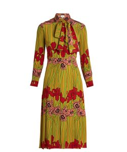 Gucci | Iris And Poppy-Print Silk Dress
