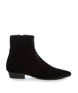 Saint Laurent | Deven Point-Toe Velvet Chelsea Boots