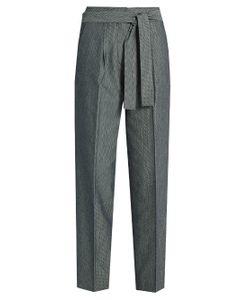 TRADEMARK   Tie-Waist Wide-Leg Twill Trousers