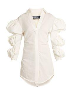 JACQUEMUS | Puff-Sleeve Cotton Mini Shirtdress