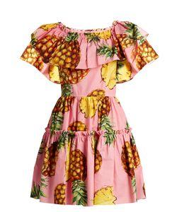 Dolce & Gabbana | Pineapple-Print Ruffled-Panel Cotton Dress