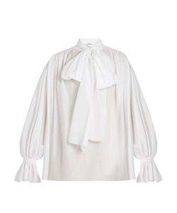 Vika Gazinskaya | Tie-Neck Cotton-Poplin Blouse